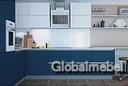 Кухня МДФ эмаль с фрезеровкой Алабама, без ручек с профилем Gola
