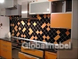 Кухня из пластика СК 823-1 Оранжевый матовый