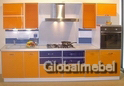 Кухня пластик Оранжевый Апельсин и Синий с цветным стеклом