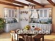 Кухня Искья синяя массив и шпон ясеня