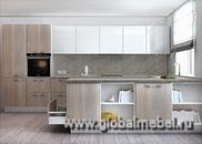 Кухня из белого акрила и шпона