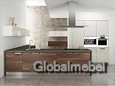 Кухонная мебель Акрил Жасмин и шпон Орех кофейный