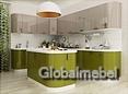 Кухонная мебель из МДФ акрила Капучино и Оливковый