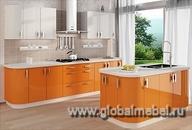 Кухня из белого и оранжевого акрила