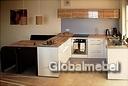 Кухня с фасадами из итальянского пластика Arpa 214 Белый матовый и Олива глянец