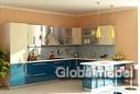 Кухонная мебель Аквамарин (бирюзовый глянец) и Мираж (молочный глянец)