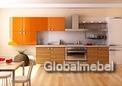 Кухня Тропикана (оранжевый глянец) и Сафари (зебрано светлое, глянец)